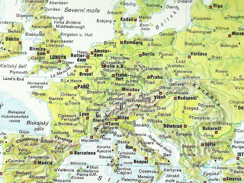 Mapa Mapa Evropy Pohori A Niziny